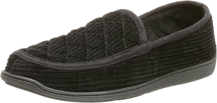 8, Navy Blue Black//Navy Blue//Brown Mens Cozy and Warm Corduroy House Slippers Slip-Ons with Slight Padded Cushioning