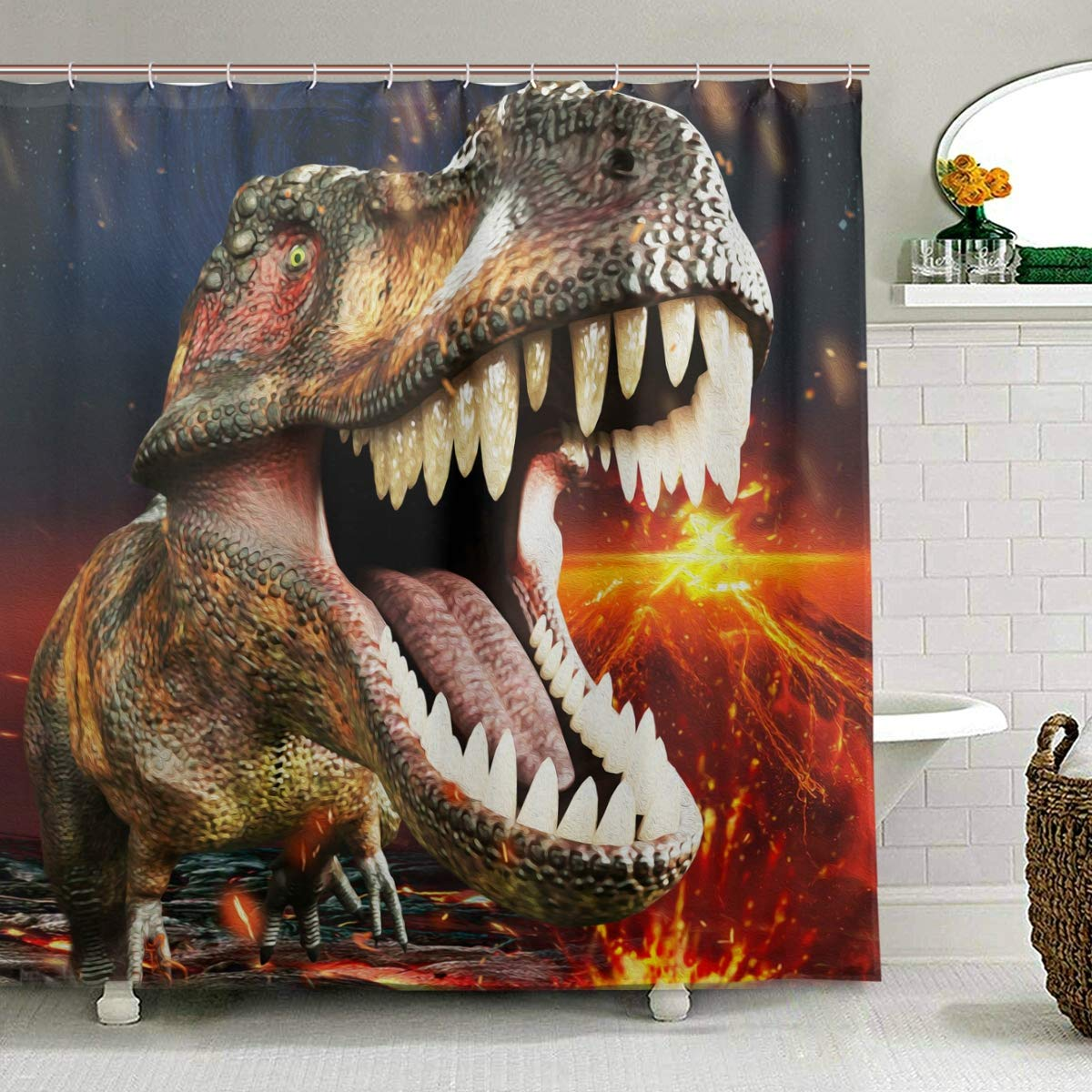 ZOEO Boys Dinosaur Shower Curtain 3D T-Rex Bathroom Curtains Fabric Large Window Tub Sets Waterproof Home Decor 12 Hooks for Men 72x72 inch