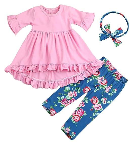 25062c57e3d1 Amazon.com  ModnToga 2Pcs Outfits Little Girl Pink Long Sleeve ...