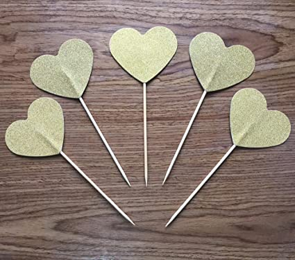 toomeecrafts tall gold heart cake topper cupcake topper wedding cupcake toppers bridal shower cupcake toppers