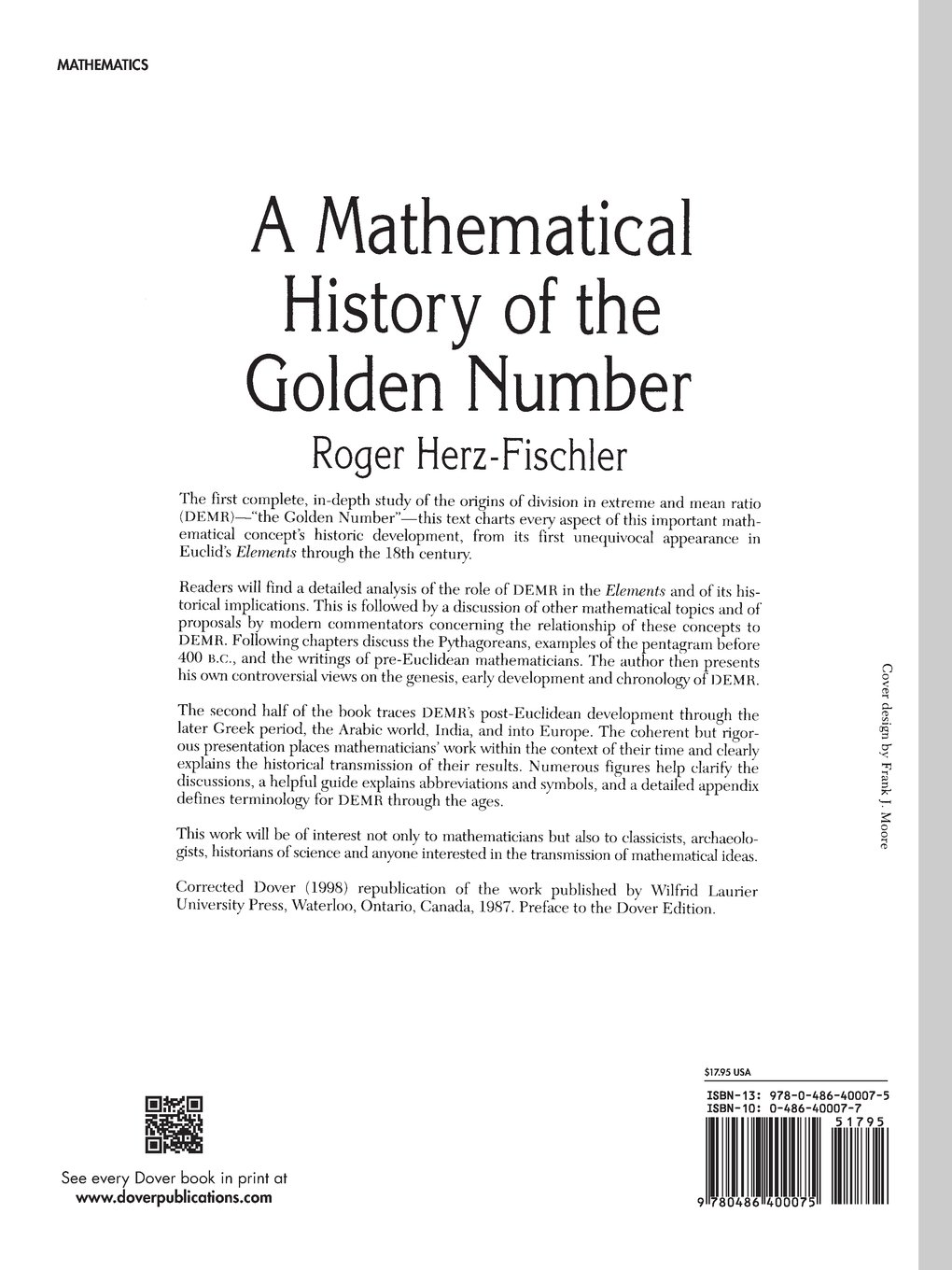 A Mathematical History Of The Golden Number Dover Books On