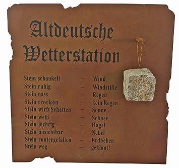 Altdeutsche Wetterstation, Wandbild, Metall, Edelrost, Gartendeko ...