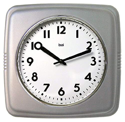 BAI Square Retro Wall Clock, 9.5 , Satin Silver
