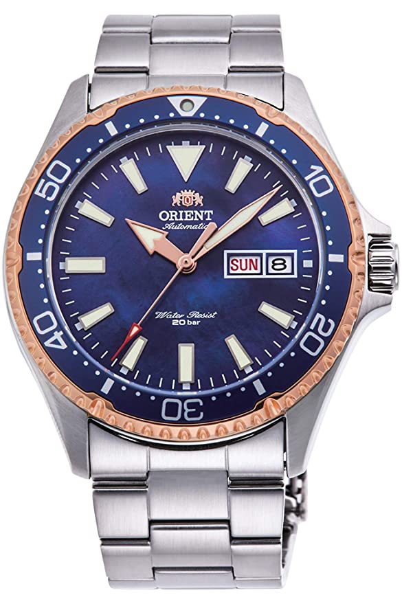 Orient Ray 3 Limited Edition Mechanical Sports 200 M Rose Gold Coral Blue Dial Watch Ra Aa0007 A by Orient