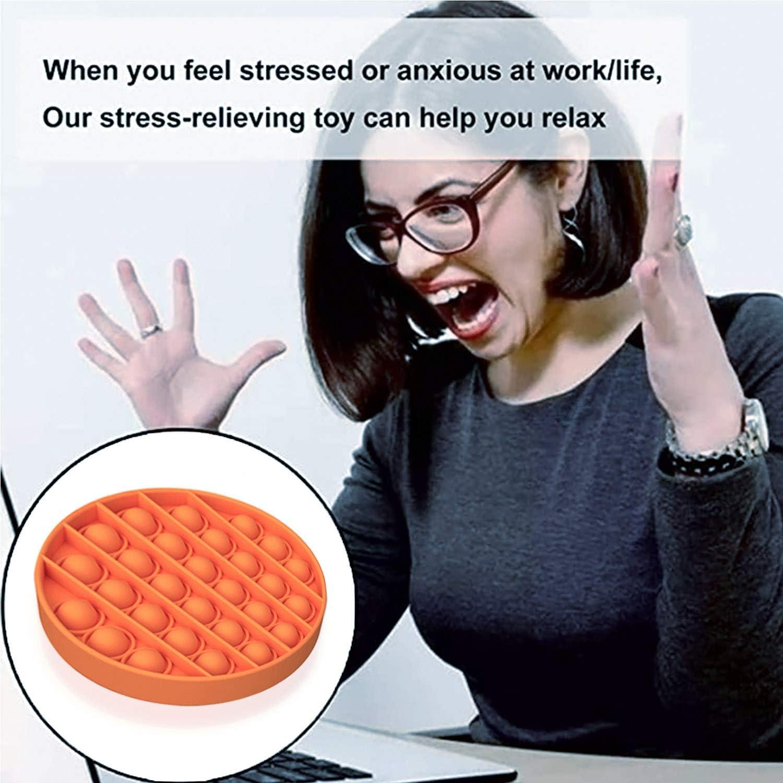 Orange, Round Push pop Bubble Sensory Round Fidget Toy Autism Special Needs Anti-Anxiety Toys Stress Reliever Squeeze Sensory Toy
