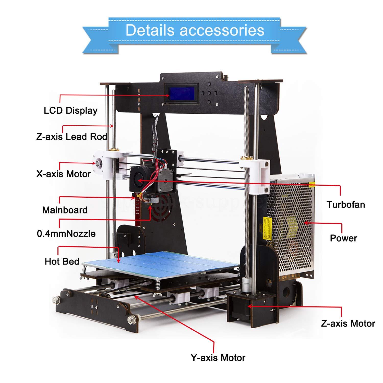 Resume Print 3D Printer A8 High Precision Large Size Desktop 3D Printer Kit Reprap Prusa I3 Upgrade DIY Self-Assembled LCD PLA//ABS Filament 1.75MM DIY 3D Printer Kit(220x220x240mm