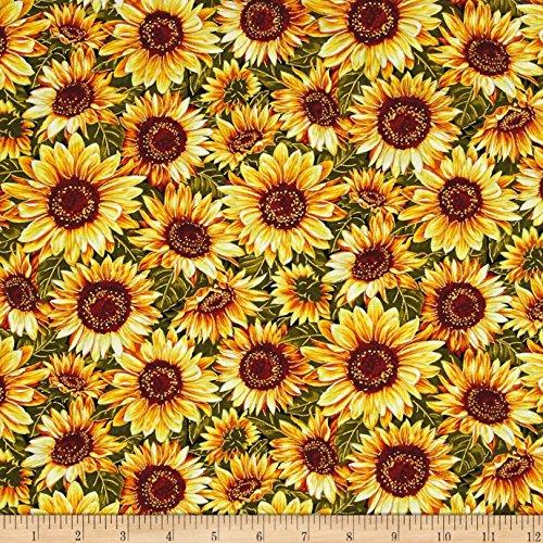 """Fabri-Quilt""""Bountiful Harvest Sunflowers Metallic Yellow"""