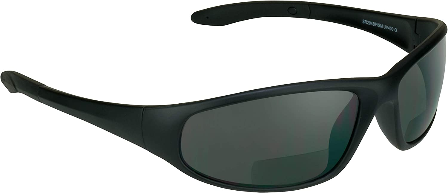 proSPORT Bifocal Sunglasses for Men Women Safety Readers Sport Dark Smoke  Black
