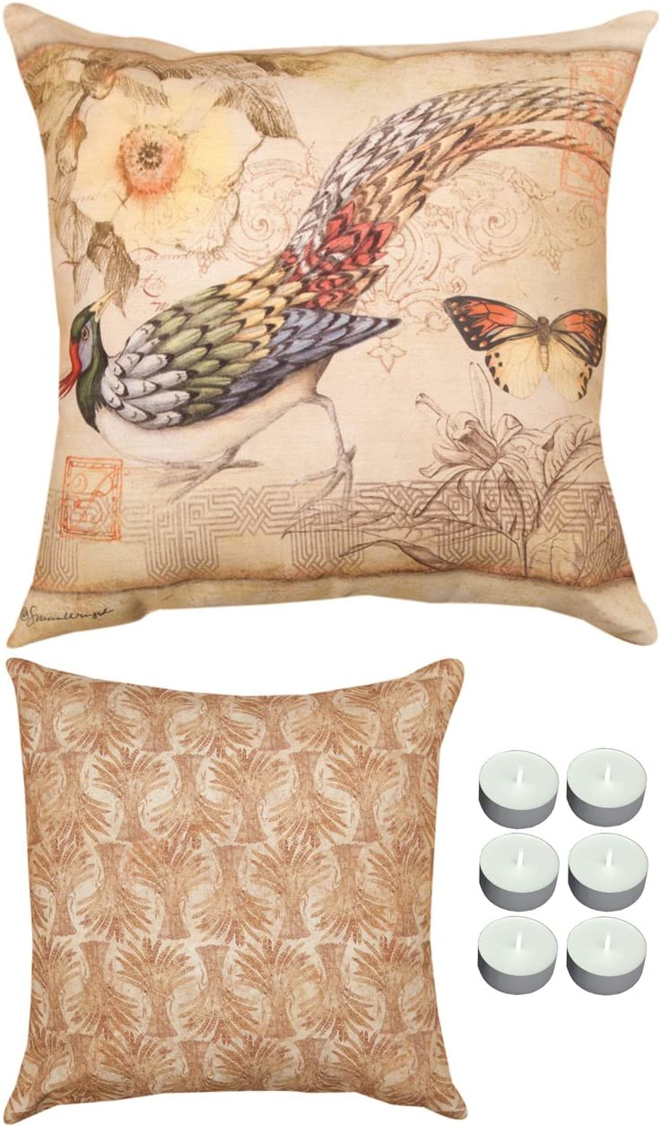 Manual Woodworkers SLPHBF Pheasant Butterfly Reversible Indoor Outdoor Pillow 18 x18 with 6-Pack of Tea Candles