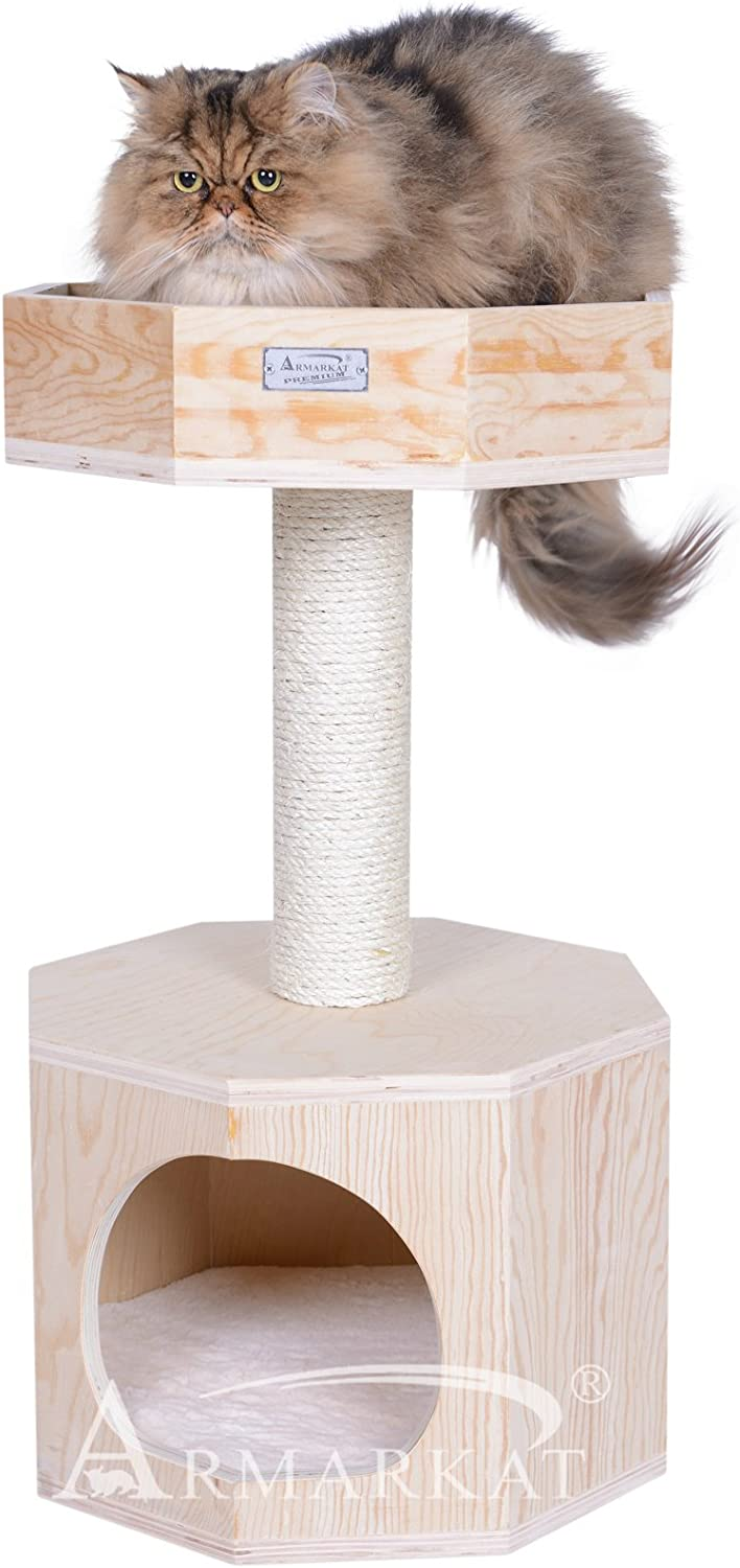 Armarkat Solid Wood Sturdy Cat Tree Condo House Furniture with Cushion S2906, Tan, 2 Levels