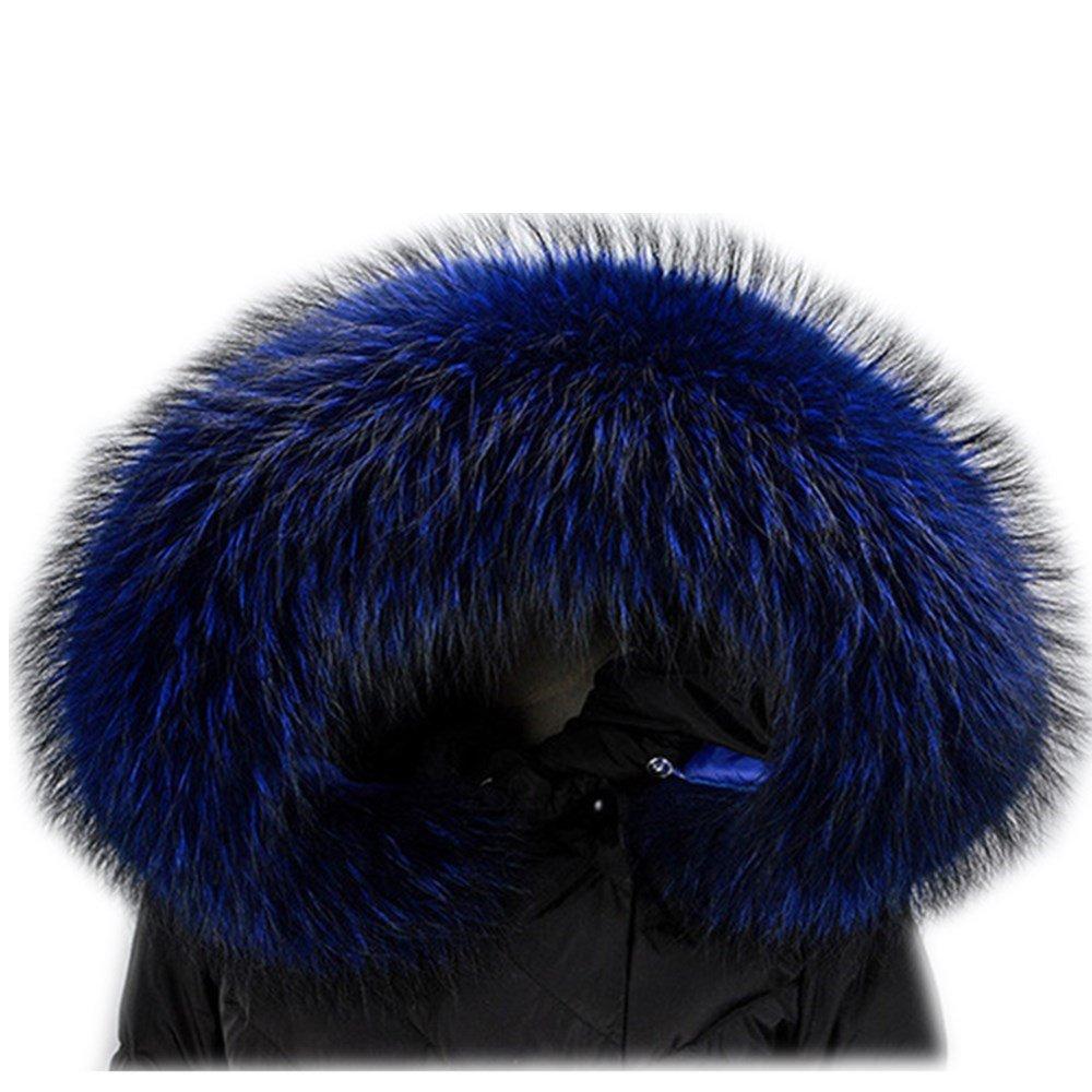 bluee Extra Large Women's Raccoon Fur Collar for Winter Coat