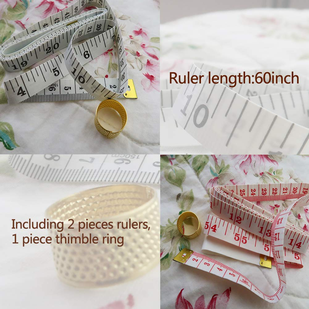 MIUSIE Bobbin for Sewing Machine-36 Pcs Colorful Sewing Thread and Bobbins with Bobbins Case,1 Set of Needles,1 Soft Ruler,1 Thimble Ring for Brother//Babylock//Janome//Elna//Singer Sewing Machine