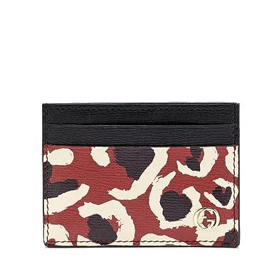 Amazon gucci leopard interlocking gg logo red leather business gucci leopard interlocking gg logo red leather business card case holder 334483 colourmoves