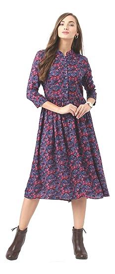 e0dc53b685487 Marie Claire Women Blue Floral Print Fit   Flare Dress (MC59 ...