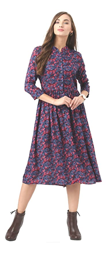 f13812fb116ba5 Marie Claire Women Blue Floral Print Fit & Flare Dress (MC59): Amazon.in:  Clothing & Accessories