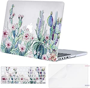 MOSISO MacBook Pro 13 inch Case 2015 2014 2013 end 2012 A1502 A1425, Plastic Pattern Hard Shell Case & Keyboard Cover & Screen Protector Compatible with MacBook Pro Retina 13 inch, Clear Base Cactus