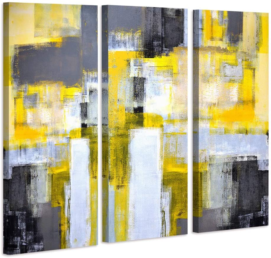 Decor MI Abstract Wall Art Yellow Grey Canvas Wall Art Paintings for Bedroom Living Room Office Home Decorations Modern Canvas Art Wall Decor Ready to Hang 16''x32'', 3 Panels