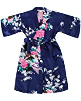 Girls' Satin Kimono Robe - Peacock and Blossoms Bathrobes Dressing Gown for Spa Wedding Birthday Ages 2-12