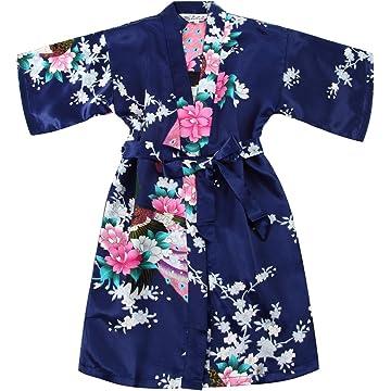 4b194d0d03 WONDERFIT Girls Stain Kimono Peacock Flower Robe for Spa Wedding Birthday