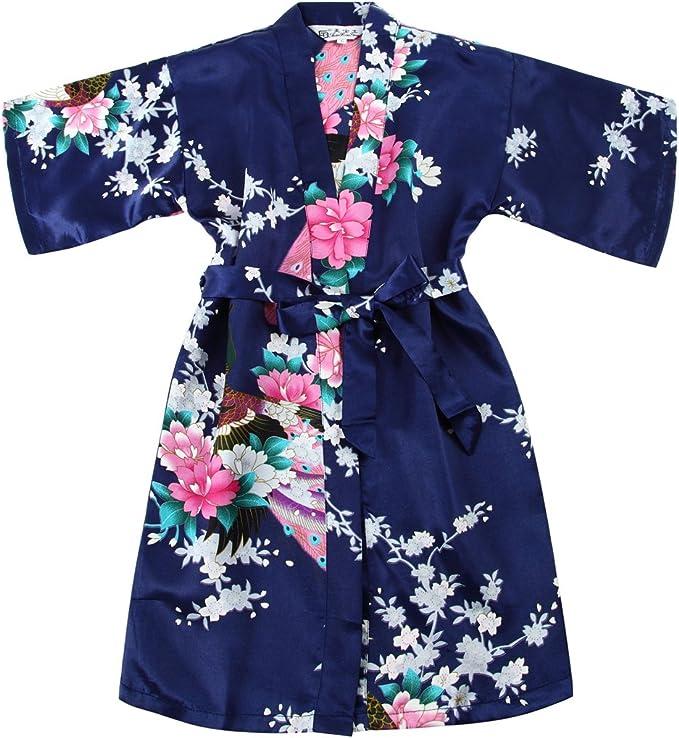 Chicas bata kimono satén traje traje ropa de noche con pavo real y ...