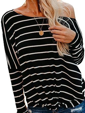 b96fb15da14 Womens Long Sleeve Twist Knot Blouses Striped T Shirt Tops at Amazon Women's  Clothing store:
