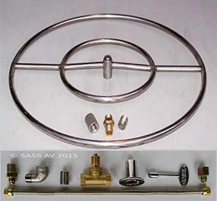 """24"""" LP Propane Stainless Steel FIRE PIT RING BURNER KIT Whistle free - Amazon.com : 24"""