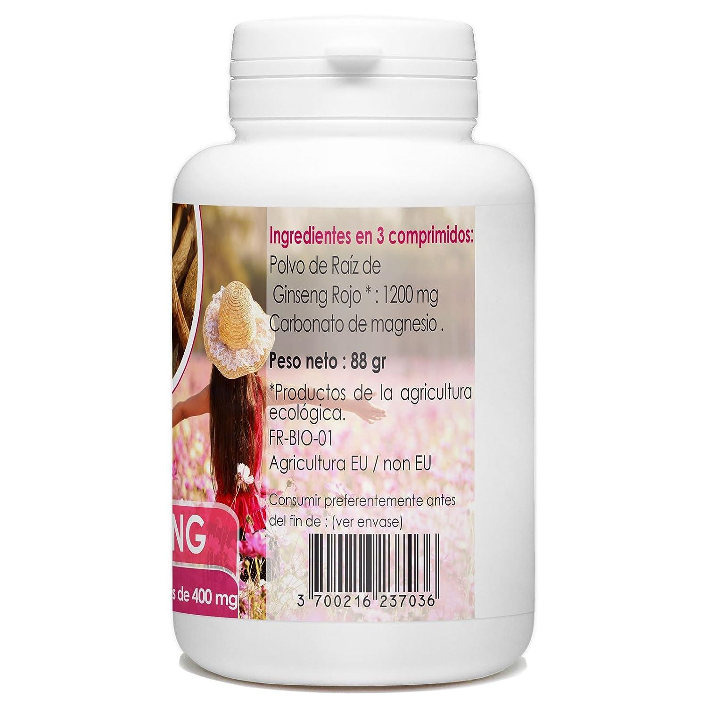 Panax Ginseng Rojo Orgánico - 400mg - 200 comprimidos