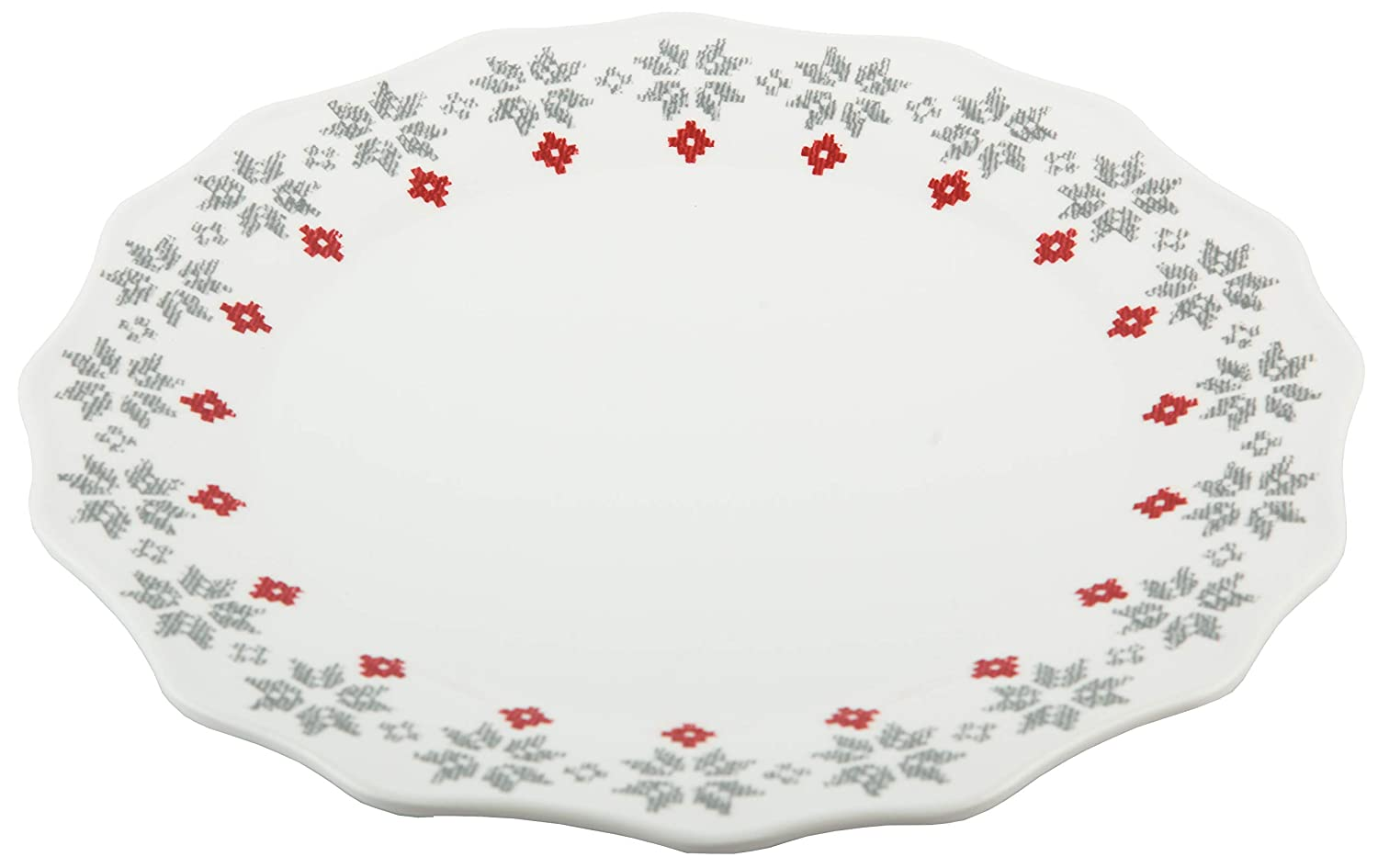 10.5 White Melange 608410091450 6 Piece 100/% Melamine Dinner Plates Christmas Collection-Grey Holly Shatter-Proof and Chip-Resistant|