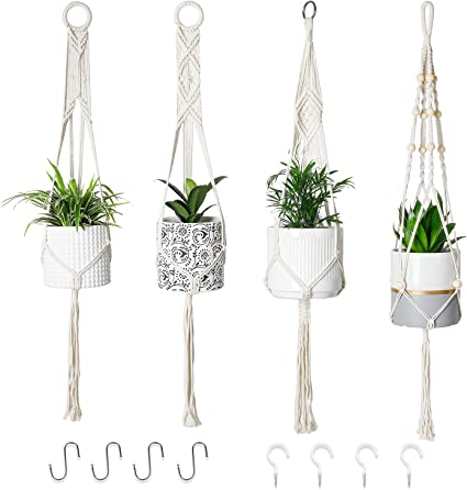 Macrame Plant Hangers with Wood Beads Handmade Cotton Rope Flower Pot Hanging for Plants Home Indoor Outdoor Planter Basket Decorative Flower Pot Holder 35 Inches, Wood Beads Hangers 1 PACK