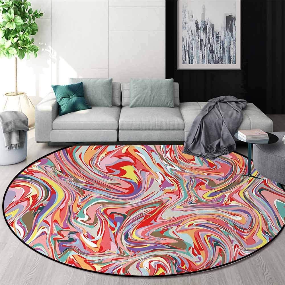 Abstract Rug Round Home Decor Area Rugs,Mix of Colors Messy Dirty Look Flow Splash Splatter Artistic Grunge Retro Graphic Non-Skid Bath Mat Living Room/Bedroom Carpet Round-35 Inch,Multicolor