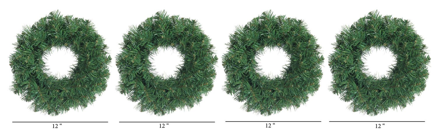 Set of 4 Small Christmas Pine Wreaths 12 Inches Diameter Each - Artificial Pine Wreaths For Windows, Doors and Holiday Displays GER 442959-SET4