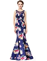 Ever Pretty Women's Sexy Sheer Neckline Floral Printed Mermaid Dress 08889