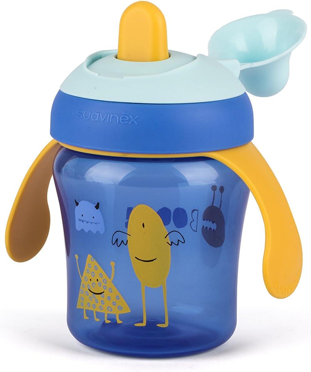 Vaso Aprendizaje Beb/é BOOO Para Beb/és +6 Meses Apto Para Lavavajillas Suavinex Con Boquilla R/ígida y Asas Removibles Color Lila