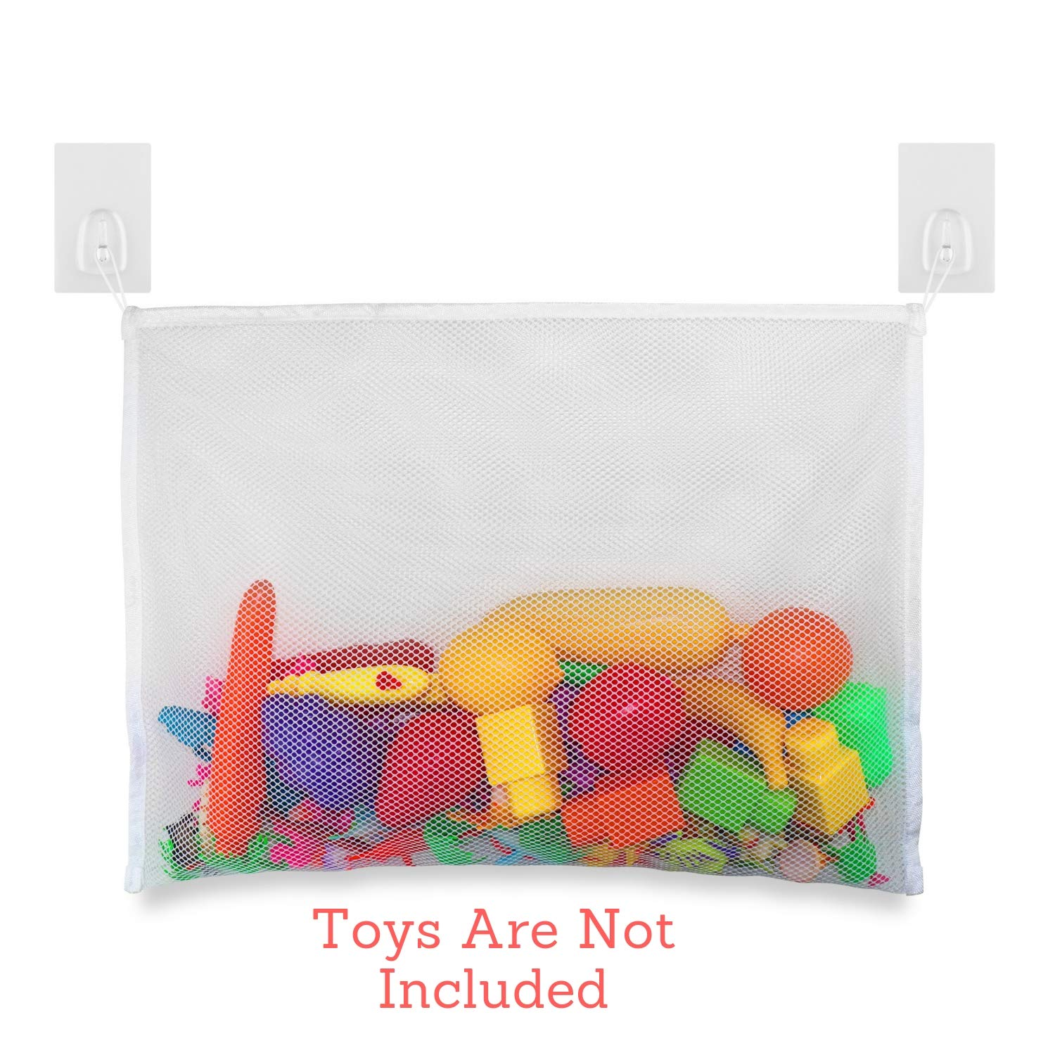 Net Playtime for Bathtime Durable Design with Strong Tile Hooks- Large Storage-Bag-Holder for Toys Or as a Shower Caddy Digital Tech Baby-Toddler Bath Tub Toys Organizer-Storage Mold Free Mesh