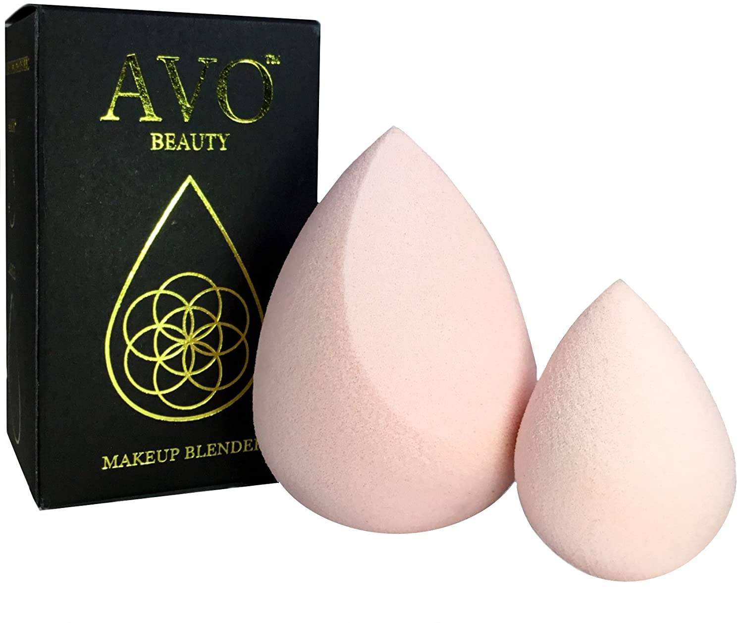 Makeup Blender Beauty Sponge Set! Use With Foundation, Powders, Creams, Any Liquid Make-Up. 100% Latex Free & Hypoallergenic - 2 Original Cosmetic Make Up Applicators AVO BEAUTY