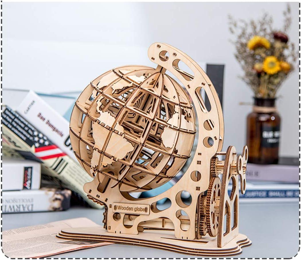 Rotatif Globe Globe 3D Puzzle avec Boite Maquette Puzzle en Bois 3D Laser Cut Puzzle Maquette a Construire Teakpeak Maquette 3D en Bois