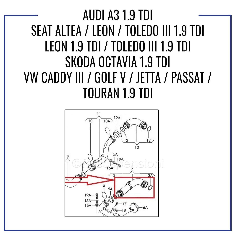 Toledo Super B Leon Touran V O L K S W A G E N G o l f V Passat Jetta Manguito INTERCOOLER Tubo ARIA1K0145838N 1K0145838C A U D I A3 S E A T Altea S K O D A Octavia