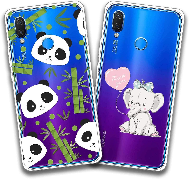 DOS Funda Huawei P Smart Plus,Panda de bambú + Pequeño elefante ...