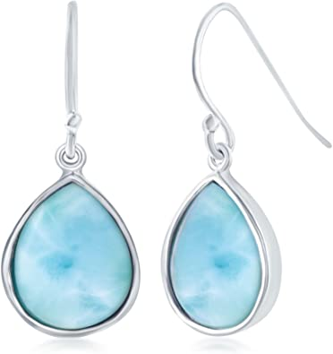 Vintage Sterling Larimar Matching Necklace Ring and Earring Set