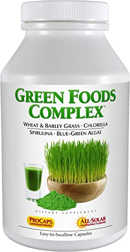 Andrew Lessman Green Foods Complex 60 Capsules Supplies Building Blocks for Healthy Tissue Growth and Liver Support. 100 mg Each of Barley Grass, Wheat Grass, Blue Green Algae, Chlorella, Spirulina