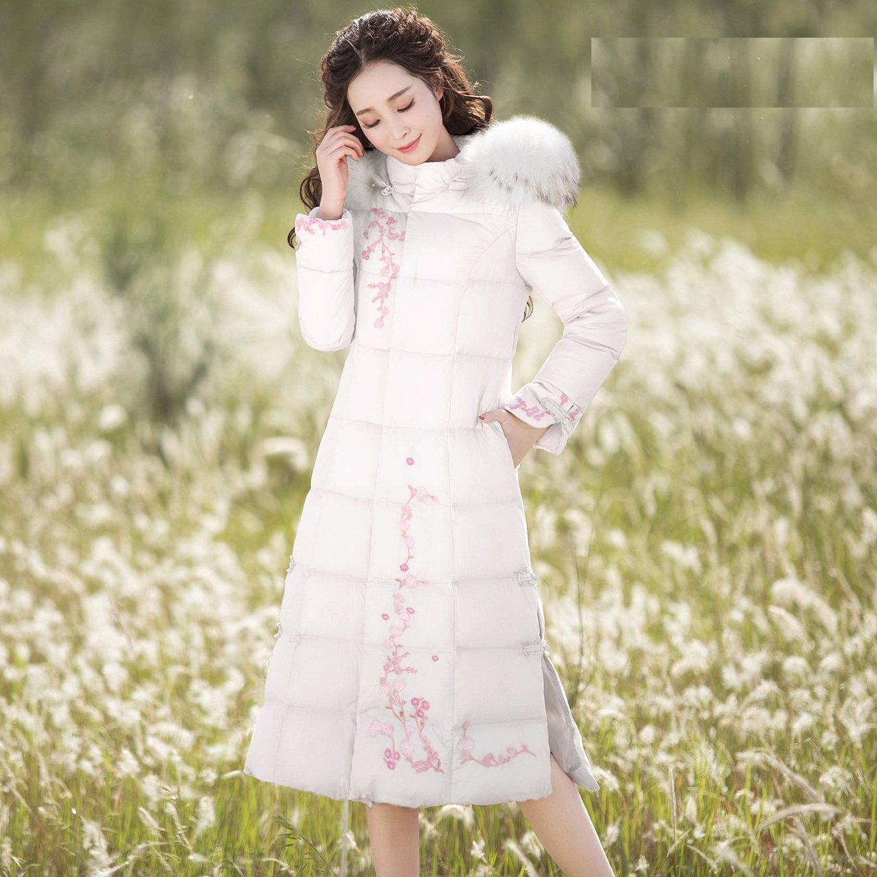 Xuanku Down Jacket damen Temperament Stickerei Kragen In Den Langen Daunenjacke Wenn Das Glas