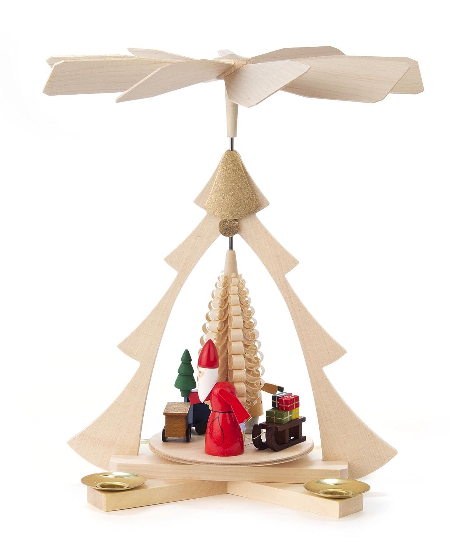 Pyramide in Tannen-Form, mit Weihnachtsmann, Schlitten und Geschenken, für Kerzen, von DREGENO SEIFFEN 27 cm – Original erzgebirgische Handarbeit