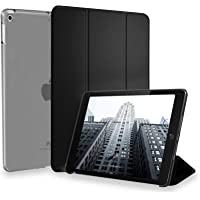 CZARTECH iPad 9.7 inch Slim Case for iPad 2018 (6th Gen) / iPad 2017 (5th Gen) [Smart Auto Wake / Sleep function, Full Body Protection, PU Leather + Translucent Tough Frosted Back Design] (Grey - Black)
