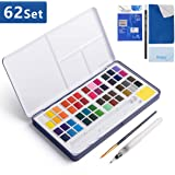 Watercolor Paint Set, 48 Color High Pigment Watercolor Paint Set, Vivid Color Cube, 2 Brush, Pencil, Mixing Palette, 8…