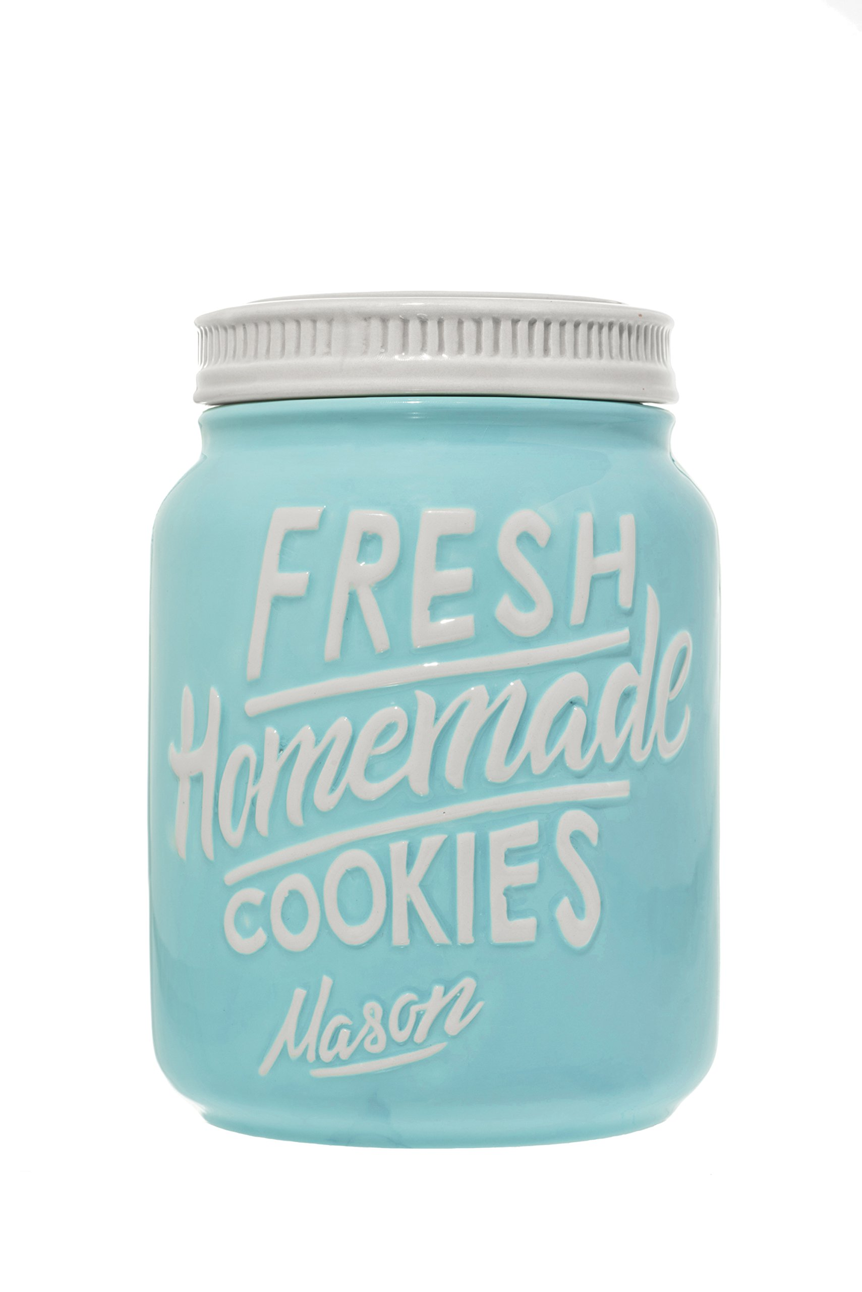 Ceramic Mason Jars Cookie Jar - Keep Your Cookies & Baked Goods Fresh with an Airtight Lid | Handy Container | Vintage Farmhouse Decor & Collector Gift | Rustic Kitchen Accessory by Goodscious (Blue)