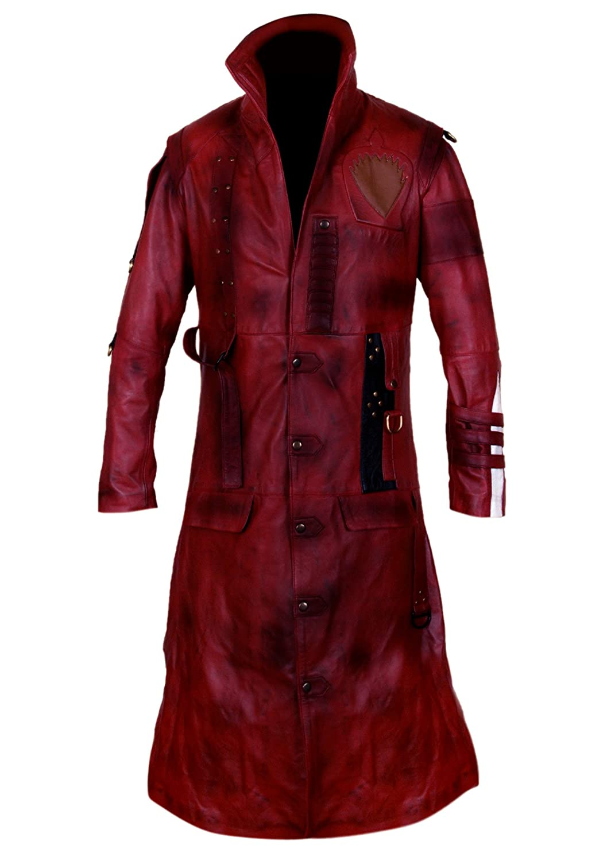 GOTG 2 Men's Maroon Genuine Leather Yondu Michael Rooker Coat
