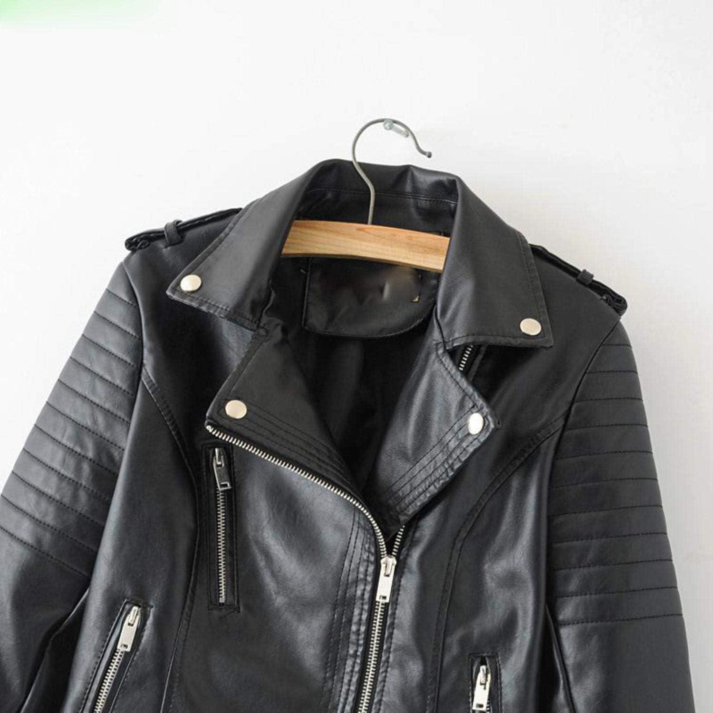 Zipper Rivet Promotion Euro-American Women's Multi-Zippered Locomotive Leather Jacket Black