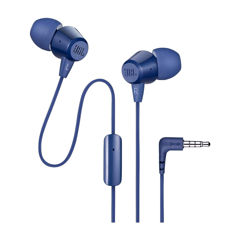 JBL C50HI in-Ear Headphones with Mic (Blue)