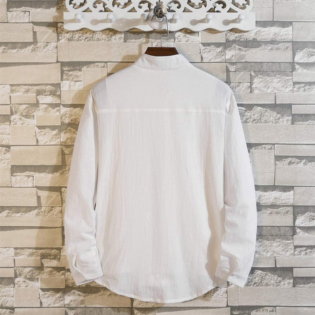Casual Fashion Pure Color Loose Pocket Lapel Long Sleeve Shirt Top Blouse Hstore Mens Simple Shirts