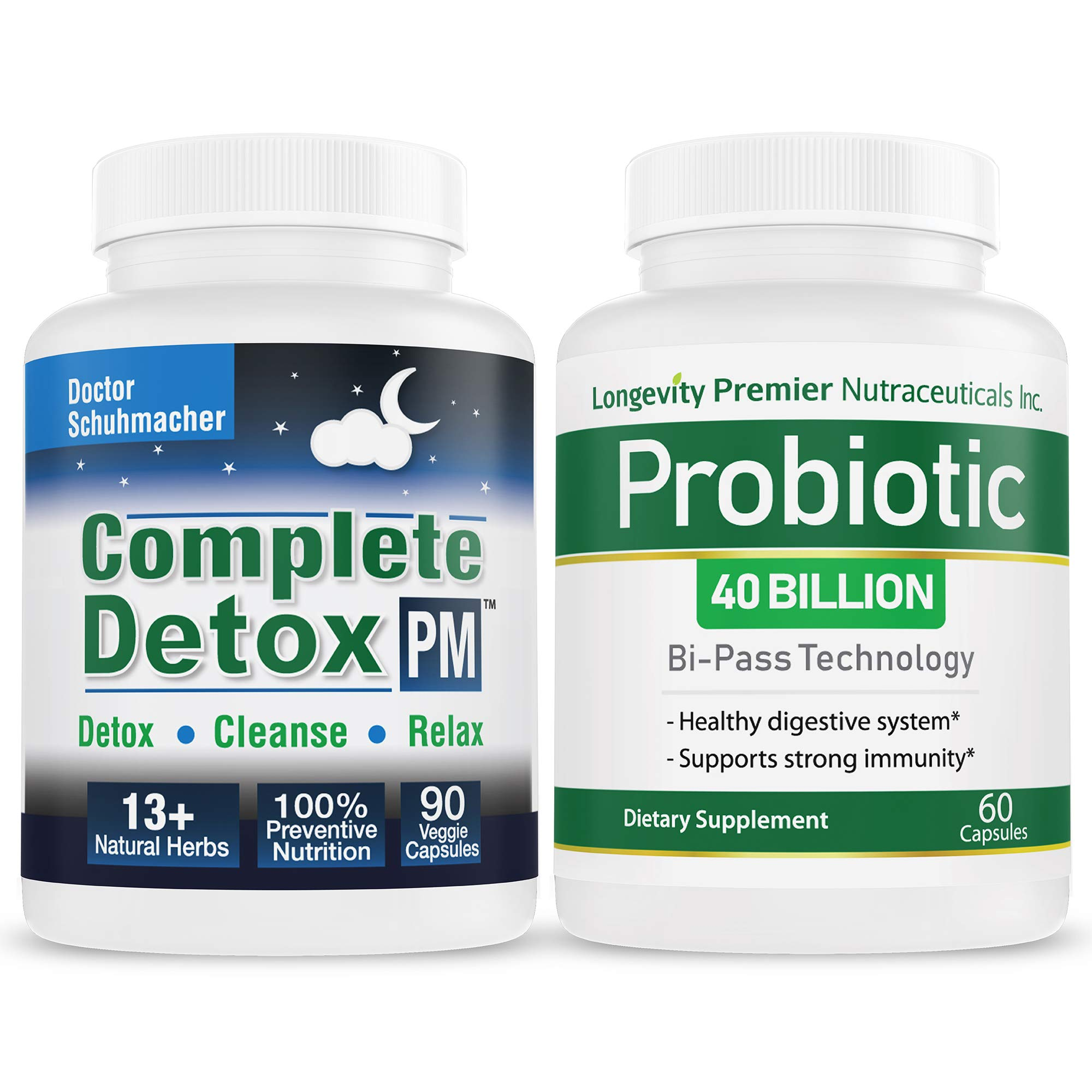 Longevity Complete Detox PM + Longevity Probiotic Value Pack - Whole Body Detox with Support for Deeper Sleep & Better Relaxation; + 40 Billion CFUs for Digestive Health ;